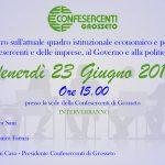 Venerdi 23 Giugno: Incontro sull'attuale quadro istituzionale economico e politico