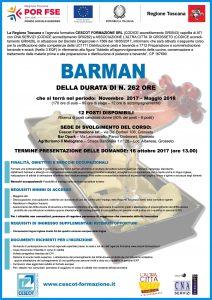 Locandina 1 Barman cescot formazione, corso gratuito finanziato da Por Fse Toscana 2014-202